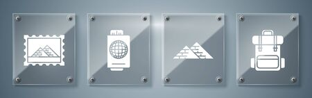 Set Hiking backpack, Egypt pyramids, Passport with ticket and Postal stamp and Egypt pyramids. Square glass panels. Vector