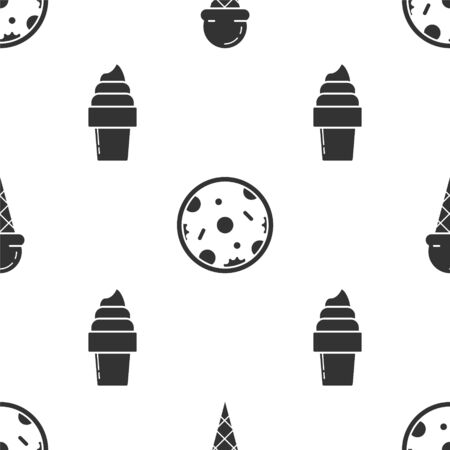 Set Ice cream in waffle cone, Pizza and Ice cream in waffle cone on seamless pattern. Vector Illustration