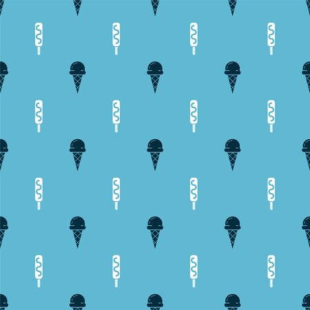 Set Ice cream in waffle cone and Ice cream on seamless pattern. Vector