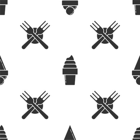 Set Ice cream in waffle cone, Ice cream in waffle cone and Crossed fork on seamless pattern. Vector