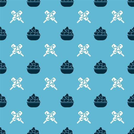 Set Popcorn in bowl and Ice cream on seamless pattern. Vector Illustration