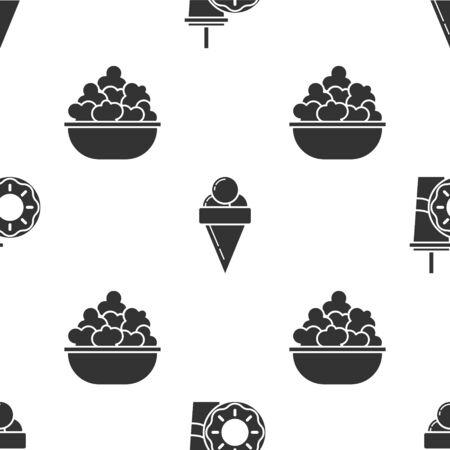 Coloque el vaso de papel con pajita y rosquilla, helado en cono de galleta y palomitas de maíz en un tazón en un patrón sin costuras. Vector