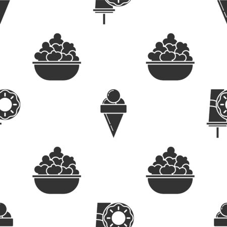 Set Paper glass with drinking straw and donut, Ice cream in waffle cone and Popcorn in bowl on seamless pattern. Vector