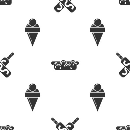 Set Ice cream, Hotdog sandwich with mustard and Ice cream in waffle cone on seamless pattern. Vector