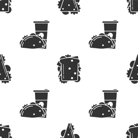 Set Sandwich, Sandwich and Paper glass and taco with tortilla on seamless pattern. Vector