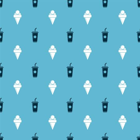 Set Paper glass with drinking straw and water and Ice cream in waffle cone on seamless pattern. Vector Illustration