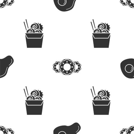 Set Scrambled eggs, Donut with sweet glaze and Asian noodles in paper box and chopsticks on seamless pattern. Vector
