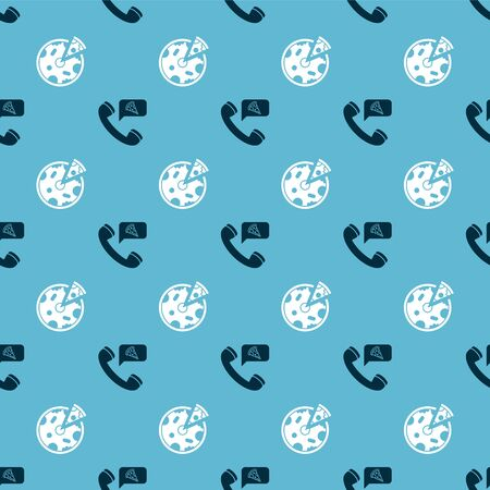 Set Food ordering pizza and Pizza on seamless pattern. Vector Ilustração