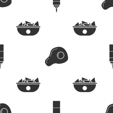 Set Sauce bottle, Scrambled eggs and Nachos in plate on seamless pattern. Vector