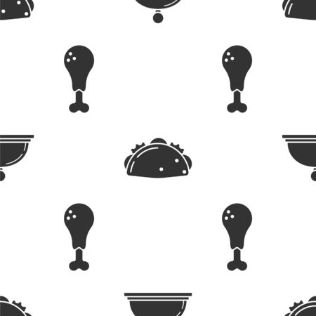 Set Covered with a tray of food, Taco with tortilla and Chicken leg on seamless pattern. Vector