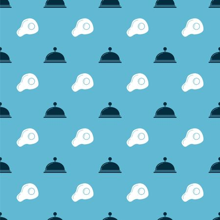 Set Covered with a tray of food and Scrambled eggs on seamless pattern. Vector