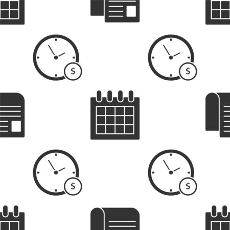 Set File document, Calendar and Time is money on seamless pattern. Vector