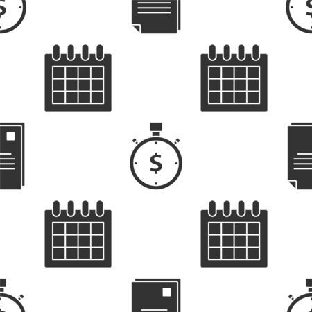 Set File document, Time is money and Calendar on seamless pattern. Vector