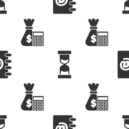 Set Address book, Old hourglass with flowing sand and Calculator with money bag on seamless pattern. Vector