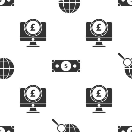 Set Magnifying glass with globe, Stacks paper money cash and Computer monitor with pound sterling symbol on seamless pattern. Vector