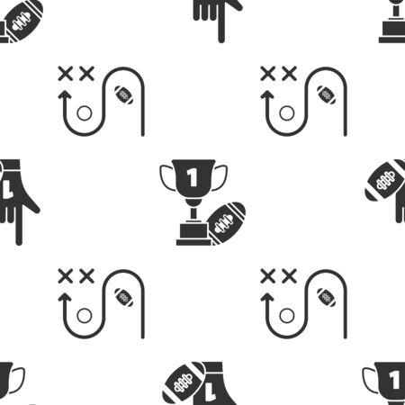 Set Number 1 one fan hand glove with finger raised and american football ball, Award cup and American football ball and Planning strategy concept on seamless pattern. Vector