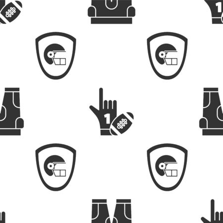 Set American football shorts, Number 1 one fan hand glove with finger raised and american football ball and American football helmet and shield on seamless pattern. Vector Çizim
