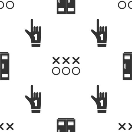 Set Locker or changing room for football, basketball team or workers, Planning strategy concept and Number 1 one fan hand glove with finger raised on seamless pattern. Vector