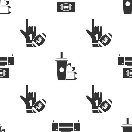 Set American Football ticket and paper glass soda with drinking straw and Number 1 one fan hand glove with finger raised on seamless pattern. Vector