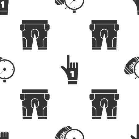 Set American Football ball and stopwatch, Number 1 one fan hand glove with finger raised and American football shorts on seamless pattern. Vector