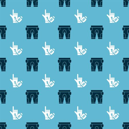 Set American football shorts and Number 1 one fan hand glove with finger raised and american football ball on seamless pattern. Vector