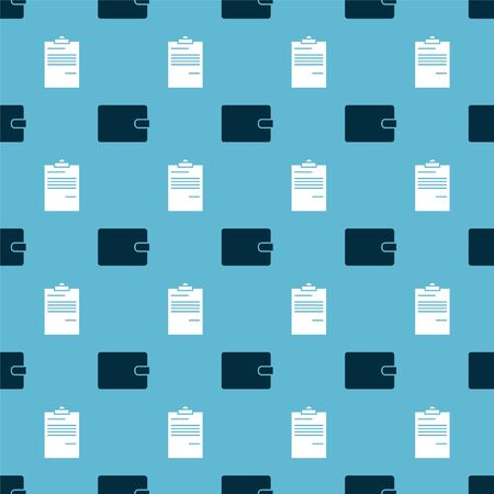 Set Wallet and Document on seamless pattern. Vector
