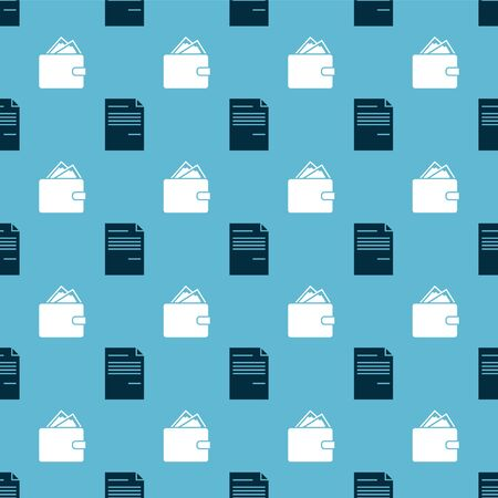 Set Document and Wallet with stacks paper money cash on seamless pattern. Vector