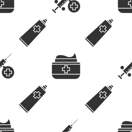 Set Medical syringe with needle, Ointment cream tube medicine and Ointment cream tube medicine on seamless pattern. Vector Archivio Fotografico - 137268523