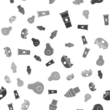 Set Paper glass and water, Ice cream in waffle cone, Nachos in plate and Scrambled eggs on seamless pattern. Vector