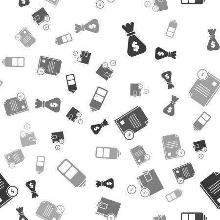 Stellen Sie Geldbeutel, Geldbörse mit Münzen, Finanzdokument und Batterieladestandsanzeige auf nahtloses Muster ein. Vektor