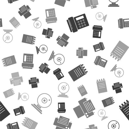 Set Telephone, Printer, Notebook and Web camera on seamless pattern. Vector