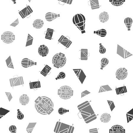 Set Hot air balloon, Suitcase for travel and stickers, Tourist tent and Airline ticket on seamless pattern. Vector