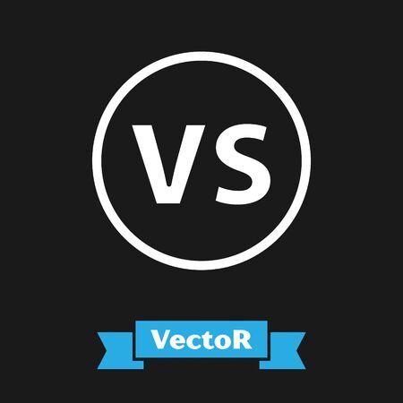 Weißes VS-Versus-Kampfsymbol auf schwarzem Hintergrund isoliert. Wettbewerb gegen Match-Spiel, Kampf gegen Sport. Vektorillustration