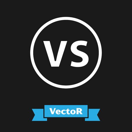White VS Versus battle icon isolated on black background. Competition vs match game, martial battle vs sport. Vector Illustration
