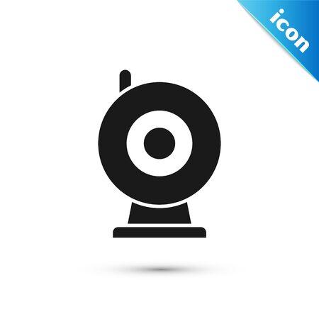 Black Web camera icon isolated on white background. Chat camera. Webcam icon.  Vector Illustration