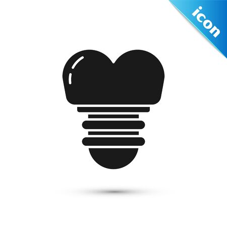 Black Dental implant icon isolated on white background. Vector Illustration
