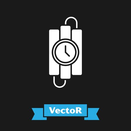 White Detonate dynamite bomb stick and timer clock icon isolated on black background. Time bomb - explosion danger concept. Vector Illustration 일러스트