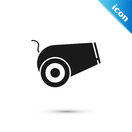 Black Cannon icon isolated on white background. Medieval weapons. Vector Illustration