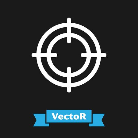 White Target sport icon isolated on black background. Clean target with numbers for shooting range or shooting. Vector Illustration