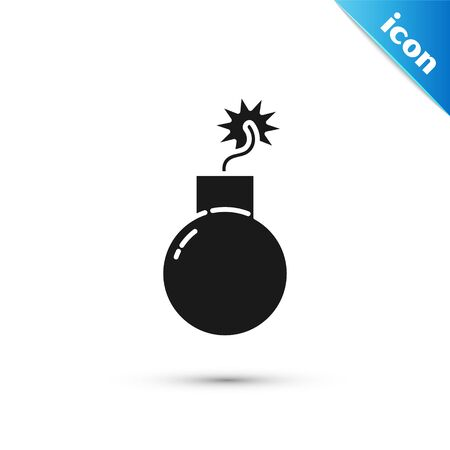 Black Bomb ready to explode icon isolated on white background. Vector Illustration 일러스트