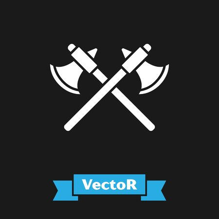 White Crossed medieval axes icon isolated on black background. Battle axe, executioner axe. Vector Illustration