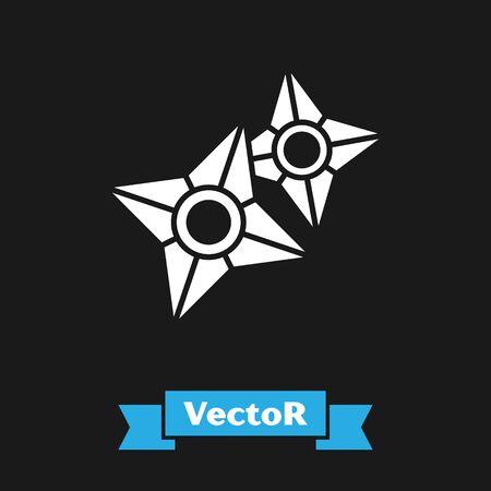 White Japanese ninja shuriken icon isolated on black background. Vector Illustration