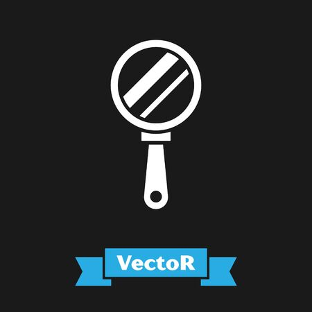 White Hand mirror icon isolated on black background. Vector Illustration