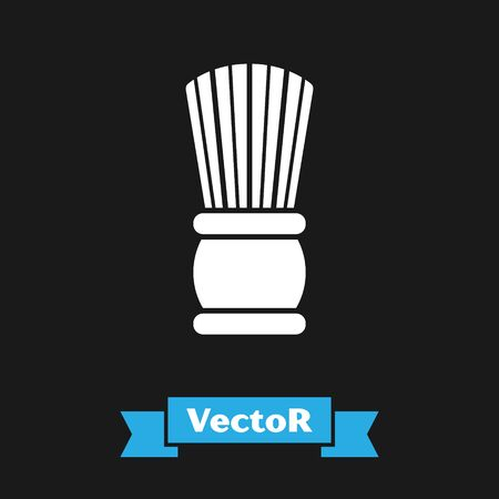 White Shaving brush icon isolated on black background. Barbershop symbol. Vector Illustration