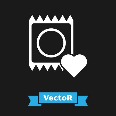 White Condom in package icon isolated on black background. Safe love symbol. Contraceptive method for male. Vector Illustration