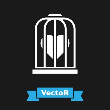 White Heart in the bird cage icon isolated on black background. Love sign. Valentines symbol. Vector Illustration Ilustração