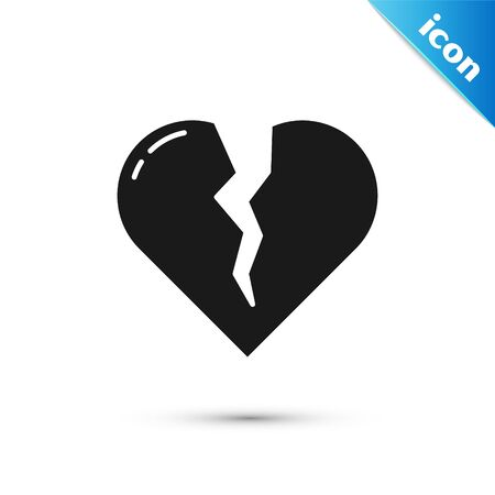 Black Broken heart or divorce icon isolated on white background. Love symbol. Valentines day. Vector Illustration