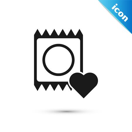 Black Condom in package icon isolated on white background. Safe love symbol. Contraceptive method for male. Vector Illustration