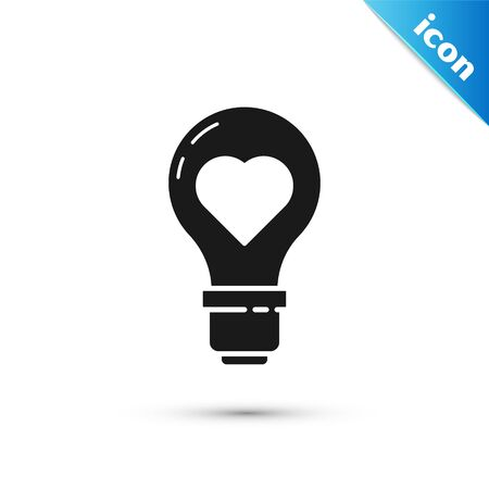 Black Heart shape in a light bulb icon isolated on white background. Love symbol. Valentine day symbol. Vector Illustration Illusztráció