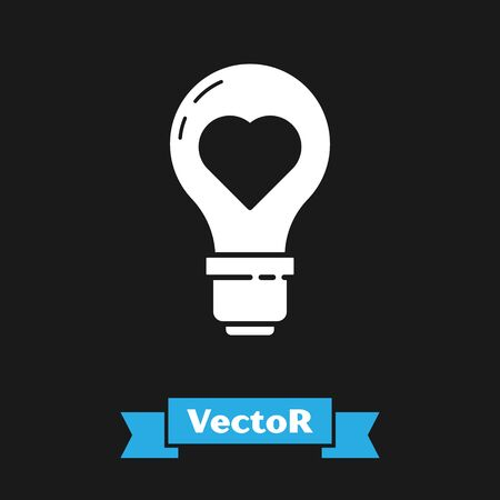 White Heart shape in a light bulb icon isolated on black background. Love symbol. Valentine day symbol. Vector Illustration